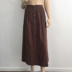 FLAX Brown Button Down Long Skirt Medium